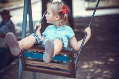 Cute little girl on the playground.  Stock Image