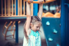 Cute little girl on the playground.  Royalty Free Stock Image