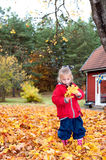 Cute little girl playing in autumn Stock Images