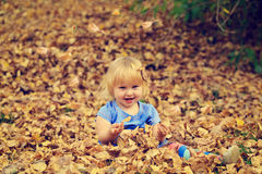 Cute little girl playing with autumn leaves Royalty Free Stock Photo