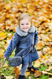 Cute little girl playing in autumn park Royalty Free Stock Images