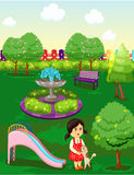 Cute little girl playing with cat in the park vector illustration