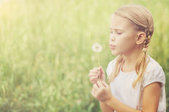 Cute little girl playing with flowers in  park Royalty Free Stock Photo