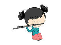 Cute little girl playing flute isolated on white background. Vector illustration Stock Photography