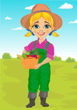 Cute little girl playing gardener with basket full of fresh vegetables. Cute little girl playing gardener with a basket full of fresh vegetables stock illustration