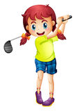 A cute little girl playing golf Stock Images