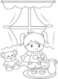 Cute little girl playing indoors coloring page. Useful as coloring book for kids Royalty Free Stock Photos