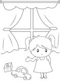 Cute little girl playing indoors coloring page. Useful as coloring book for kids royalty free illustration
