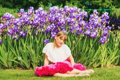 Pretty little girl playing outside Royalty Free Stock Photos
