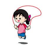 Cute little girl playing jump rope isolated on white background Royalty Free Stock Images