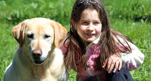 Cute little girl playing with labrador retriever dog. Smiling young girl playing with labrador retriever dog Stock Photo