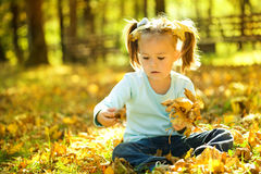 Cute little girl is playing with leaves in park Royalty Free Stock Photos