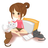 Cute little girl playing with little kittens in wh. Ite background, create by vector Royalty Free Stock Photography
