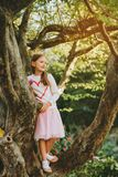 Fashion portrait of a cute little girl of 7 years old stock photography