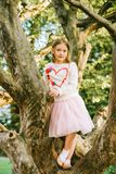 Fashion portrait of a cute little girl of 7 years old stock photos