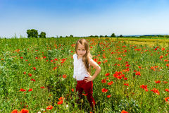 Cute little girl playing in red poppies field summer day, beauty Stock Photos