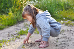 Cute little girl is playing with sand in the forest Stock Image