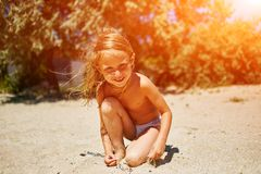Cute little girl playing Stock Photo