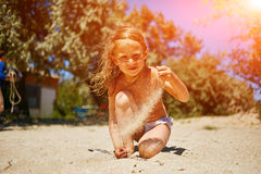 Cute little girl playing Royalty Free Stock Photos