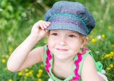 Cute little girl playing in the summer Royalty Free Stock Photos