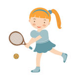 Cute little girl playing tennis Stock Photos