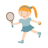 Cute little girl playing tennis Royalty Free Stock Photo