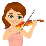 Cute little girl playing violin. Closeup portrait of cute little girl playing violin  on white background Royalty Free Stock Photography