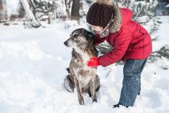 Cute little girl plays with her dog in snow. Cute little girl plays in snow outdoor royalty free stock images