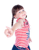 Cute little girl point her finger at someone Royalty Free Stock Photo