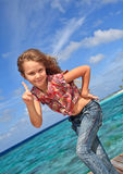 Cute little girl pointing Royalty Free Stock Images