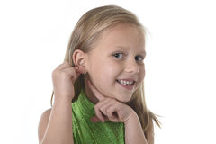 Cute little girl pointing her ear in body parts learning school chart serie Stock Photography