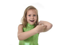 Cute little girl pointing her elbow in body parts learning school chart serie Royalty Free Stock Image