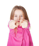 Cute little girl pointing her finger Stock Image