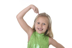 Cute little girl pointing her head in body parts learning school chart serie Royalty Free Stock Photography