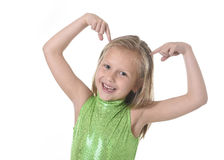 Cute little girl pointing her head in body parts learning school chart serie Stock Image