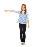 Cute little girl pointing to the side Royalty Free Stock Image
