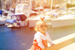 Cute little girl portrait in the port Stock Photography