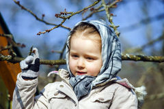 Cute little girl portrait , spring day, playground Stock Photography