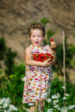 Cute little girl posing with fresh red strawberry in the sunny g Stock Photography