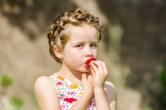 Cute little girl posing with fresh red strawberry in the sunny g Royalty Free Stock Image