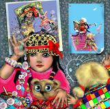 Cute little girl, posing in front of a mirror. Cute girl, posing in front of a mirror, with hat and a necklace, another cute girl painting on the wall, posters Royalty Free Stock Photos