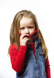 Cute little girl posing in mother's sunglasses, childhood concep Royalty Free Stock Image