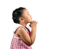 Cute Little Girl Praying. On White Background Royalty Free Stock Photos