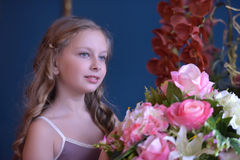 Cute little girl in princess dress. Portrait of cute little girl in princess dress Stock Photography
