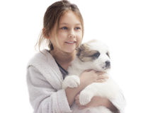 Cute little girl and puppy Stock Photography