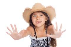 Cute little girl put forward hand Stock Photo
