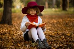 Cute little girl read interesting book in autumn. Park stock image