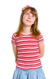 Cute little girl in red clothes stock photo