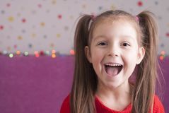 Girl in red dress. Cute little girl in a red dress Royalty Free Stock Photography