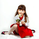 Girl with orchid Stock Photography